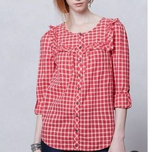 ANTHROPOLOGIE Holding Horses Plaid Ruffle Blouse